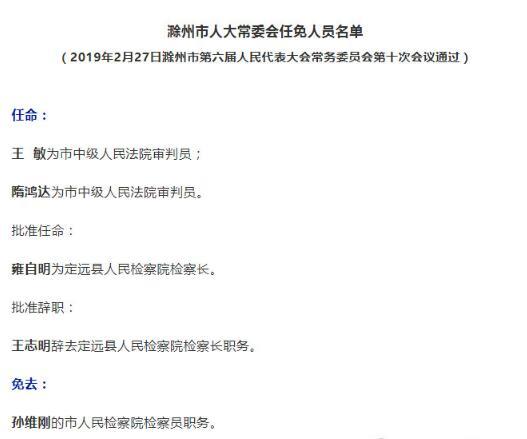 滁州市人大常委会任免人员名单公布