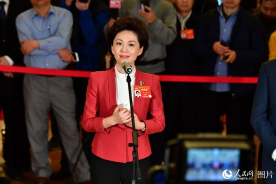 全国政协委员、中央广播电视总台央视新闻主播海霞接受记者采访。