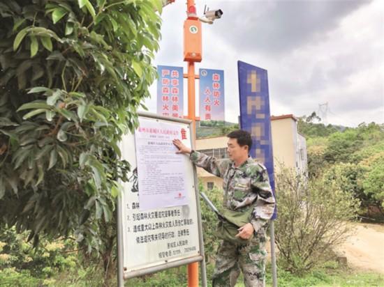 ▲张泽民在粘贴森林防火宣传单张。