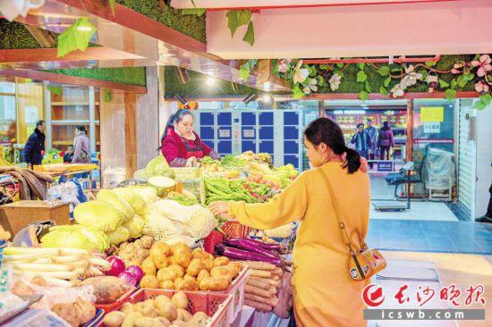 """目前網上""""菜籃子""""難敵實體店,到2020年,中國的生鮮消費市場仍將以線下為主,線下渠道將佔據75%至85%的市場。圖為雨花區活力社區生鮮農貿市場。 長沙晚報全媒體記者 陳飛 攝"""