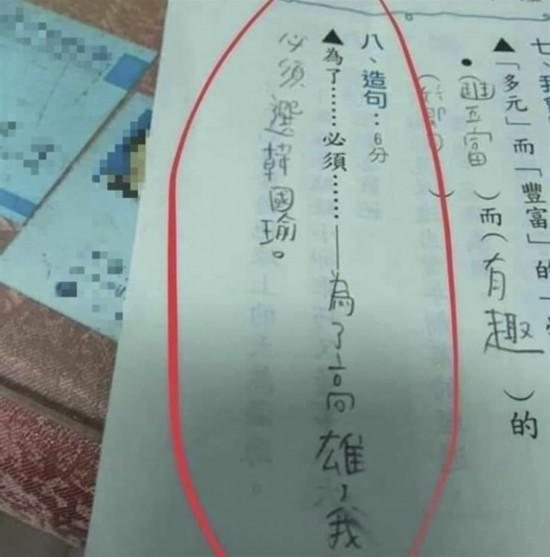 台湾小学生造句挺韩国瑜亮点超感动