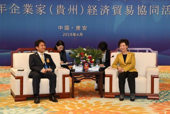 4月9日,省委副书记、省长谌贻琴在贵安新区会见来黔出席中日青年企业家(贵州)经贸交流活动的中日嘉宾。张丽 摄