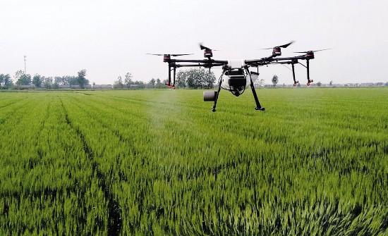 淮安市淮安区利用植保无人机对小麦喷药作业