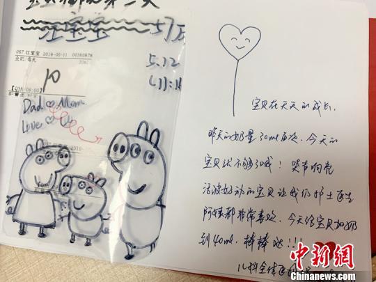 一个人独自待在病房也很无聊,就在给儿子送母乳的储奶袋上画起了简笔