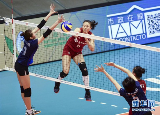 (体育)(7)排球――世界女子联赛澳门站:中国胜泰国