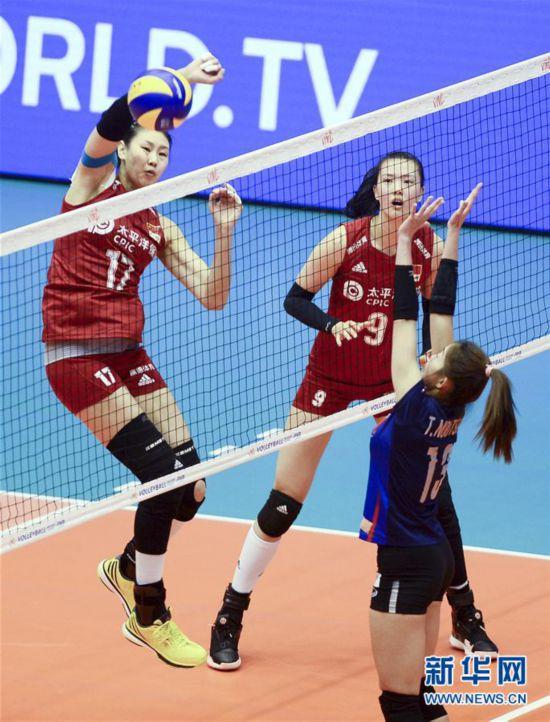 (体育)(8)排球――世界女子联赛澳门站:中国胜泰国