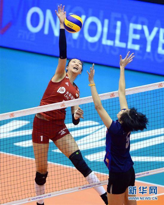 (体育)(5)排球――世界女子联赛澳门站:中国胜泰国