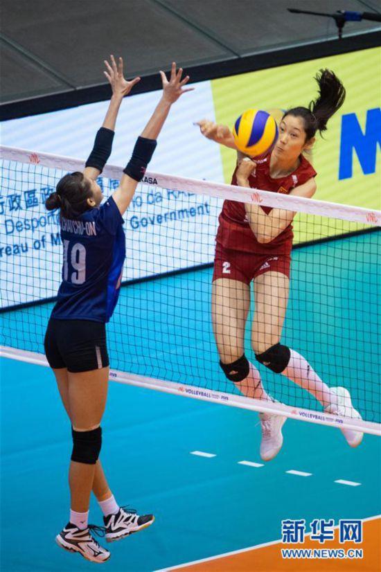 (体育)(3)排球――世界女子联赛澳门站:中国胜泰国