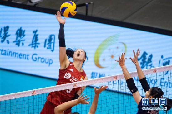 (体育)(9)排球――世界女子联赛澳门站:中国胜泰国