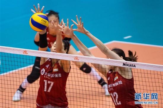 (体育)(6)排球――世界女子联赛澳门站:中国胜泰国