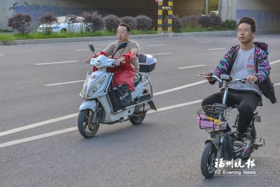福州三環福馬路口一小時查出70余起非機動車交通違法