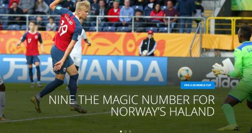 哈兰德单场打入9球创造了世青赛纪录。图片来源:国际足联网站