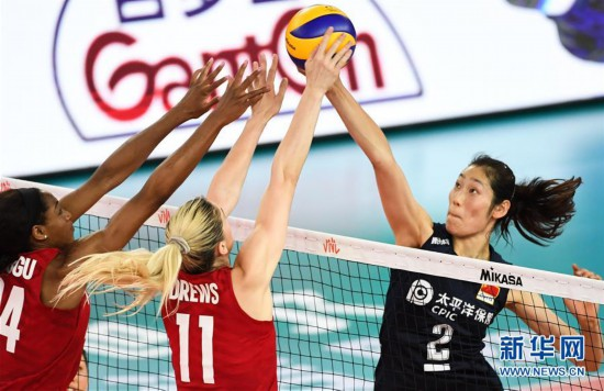 (體育)(1)排球——世界女排聯賽江門站:中國隊不敵美國隊