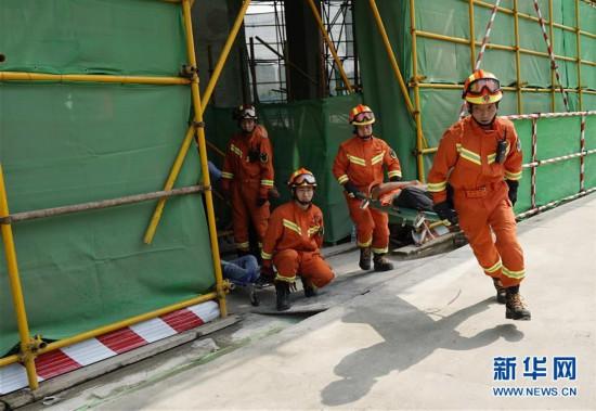 """(社会)(1)天津举行""""安全生产月""""综合应急演练"""