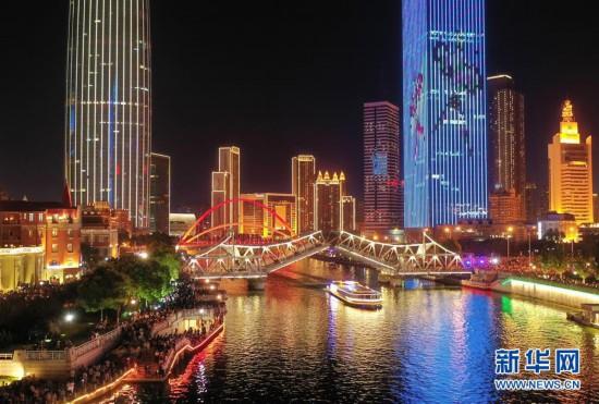 (社会)(1)兴发国际娱乐:万人观桥夜迷人