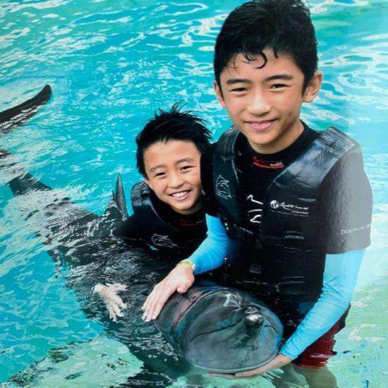 张柏芝晒俩儿子出游照与海豚合影超有爱