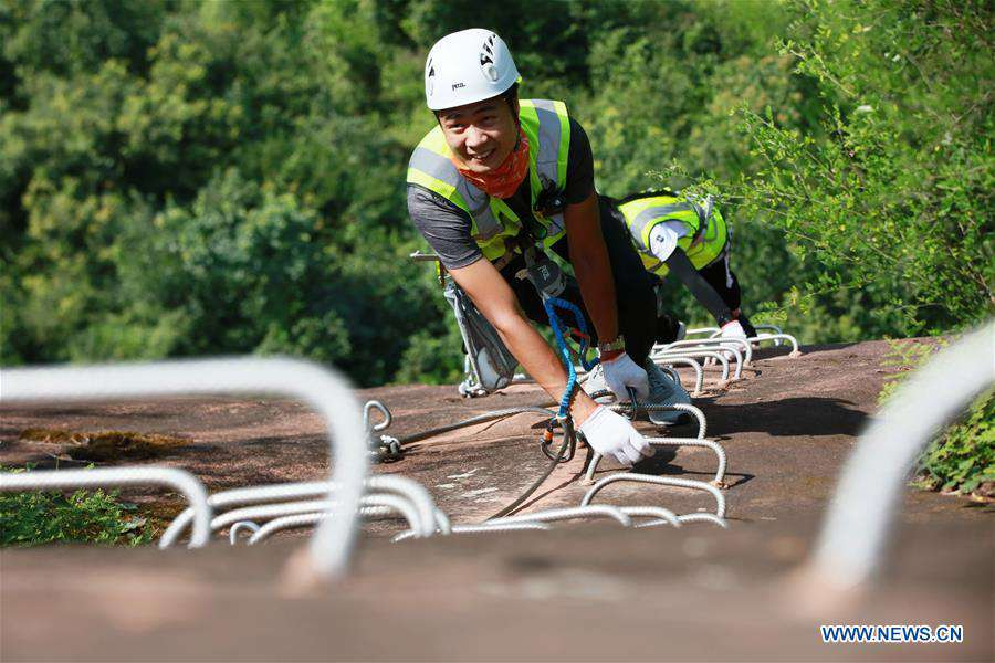 Safety check conducted at outdoor park in Zhangjiajie, C China's Hunan