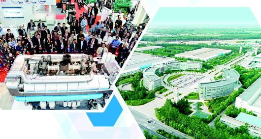 左图:2019年中东电力展上,潍柴博杜安发电动力受到全球客户瞩目。右图:潍柴工业园俯瞰图。