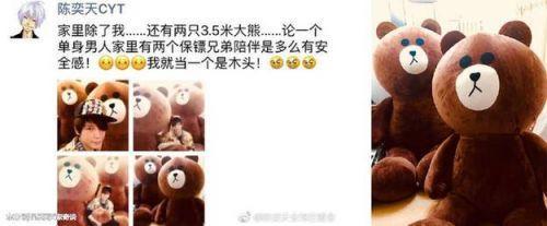 陈奕天说家里有两个保镖兄弟 原来是两只3.5米的大熊