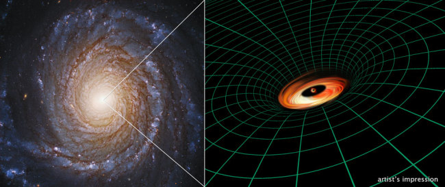 A Hubble Space Telescope image of the spiral galaxy NGC 3147 appears next to an artist's illustration of the supermassive black hole residing at the galaxy's core. [Credits: Hubble Image: NASA, ESA, S. Bianchi (Università degli Studi Roma Tre University), A. Laor (Technion-Israel Institute of Technology), and M. Chiaberge (ESA, STScI, and JHU); illustration: NASA, ESA, and A. Feild and L. Hustak (STScI)]