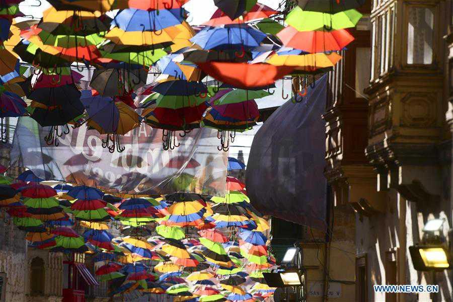 "Scenery of ""Umbrella Street"" spectacle in Zabbar, Malta"