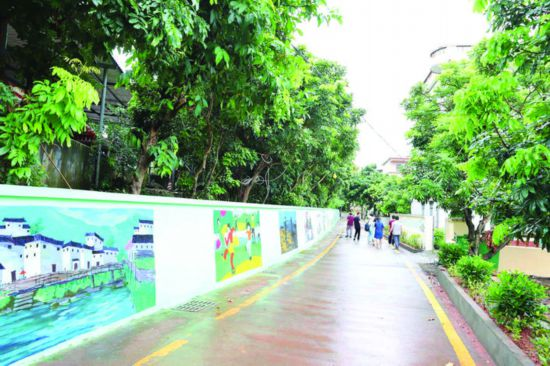 衙前村绿树成荫,村道整洁干净。  惠州日报记者钟畅新 摄