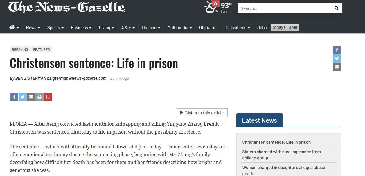 快訊!章瑩穎在美遇害案迎來最終裁決,被告克里斯滕森被判終身監禁