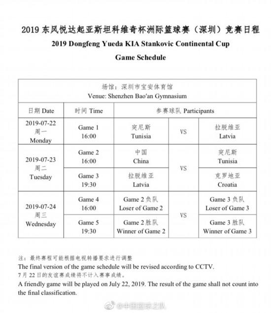 斯杯完整赛程。图片来源:中国篮球之队官方微博
