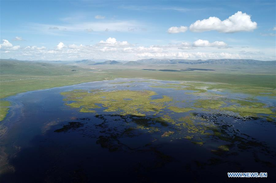 Area of Gahai Lake expanding in northwest China's Gansu