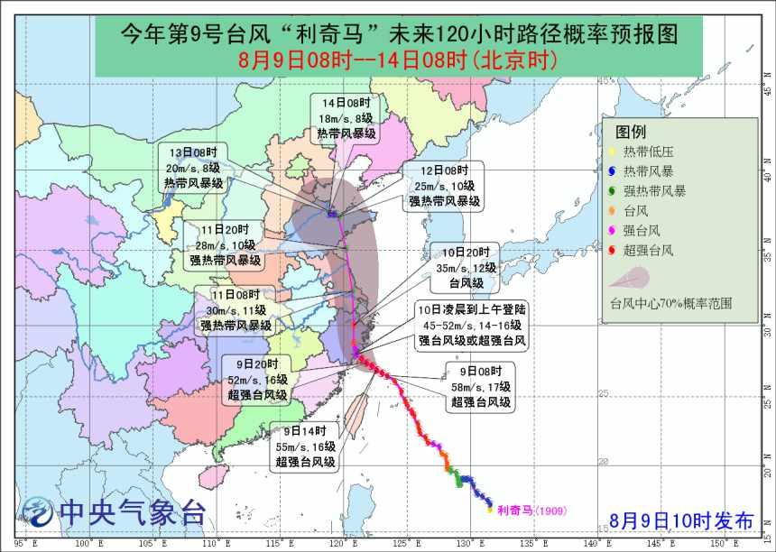 中央气象台台风红色预警:台风利奇马10日凌晨浙江登陆