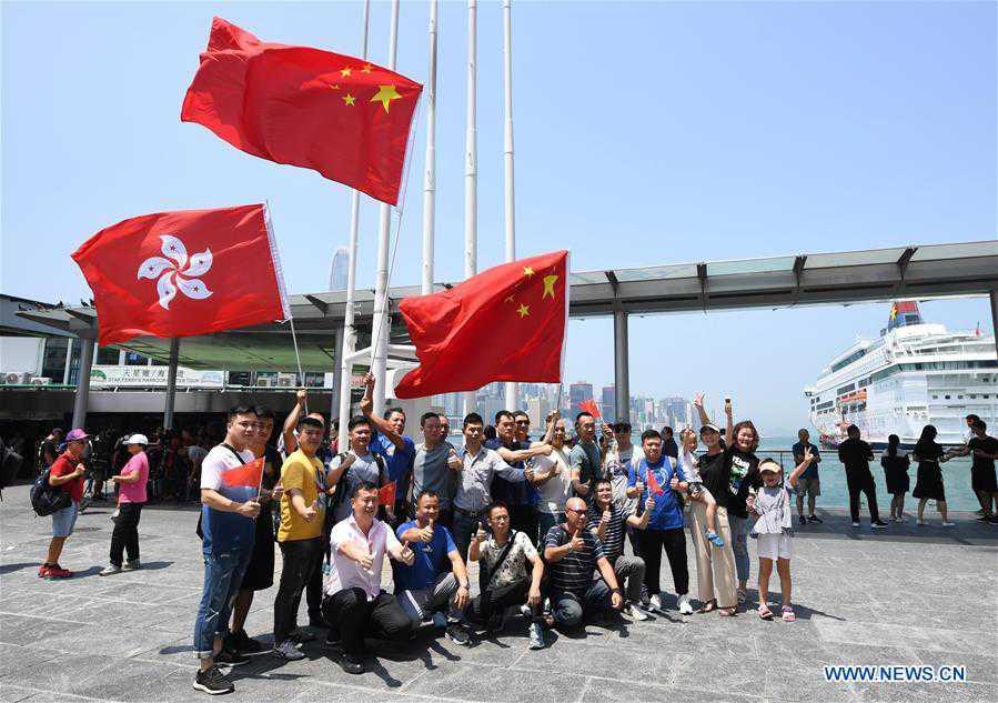 CHINA-HONG KONG-REVERENCE TO CHINESE NATIONAL FLAG-RALLY (CN)