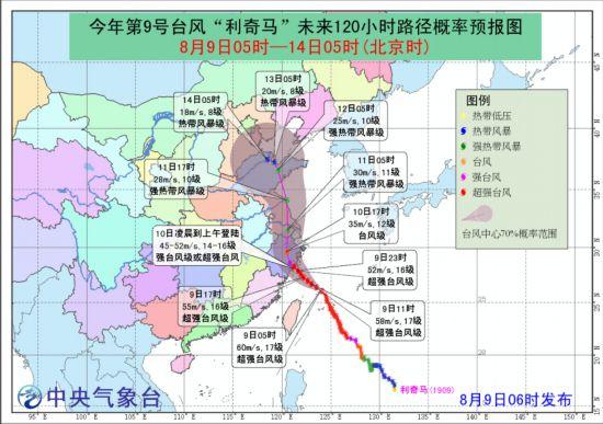 """中央气象台发布台风红色预警 超强台风""""利奇马""""即将登陆浙江沿海"""