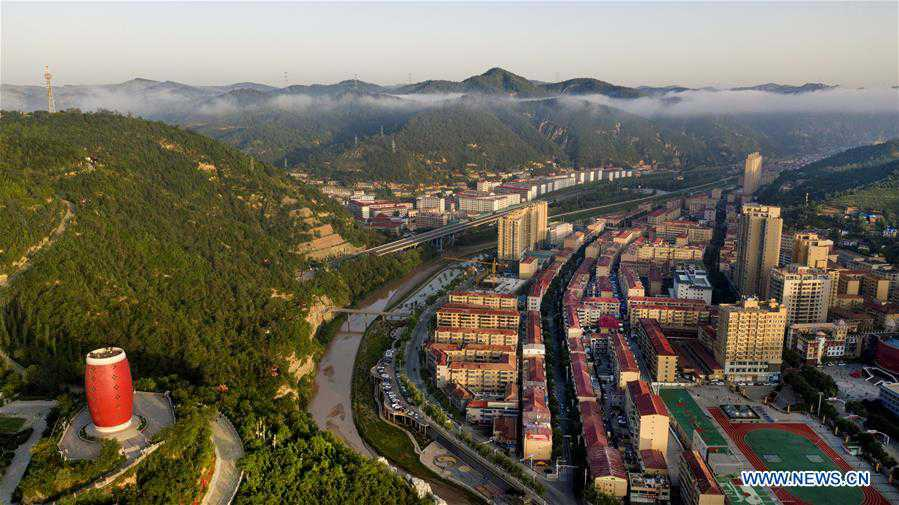 Aerial view of Ansai District of Yan'an, NW China's Shaanxi