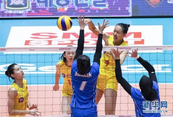 (体育)(7)排球――女排亚锦赛:中国队胜印度尼西亚队
