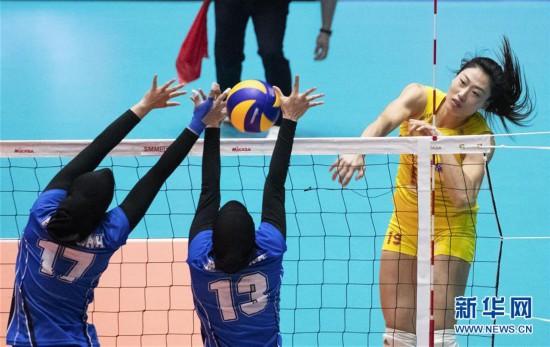 (体育)(1)排球――女排亚锦赛:中国队胜印度尼西亚队