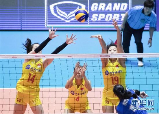 (体育)(6)排球――女排亚锦赛:中国队胜印度尼西亚队