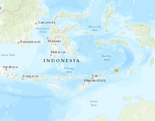 印尼附近海域发生5级地震震源深度130.6公里