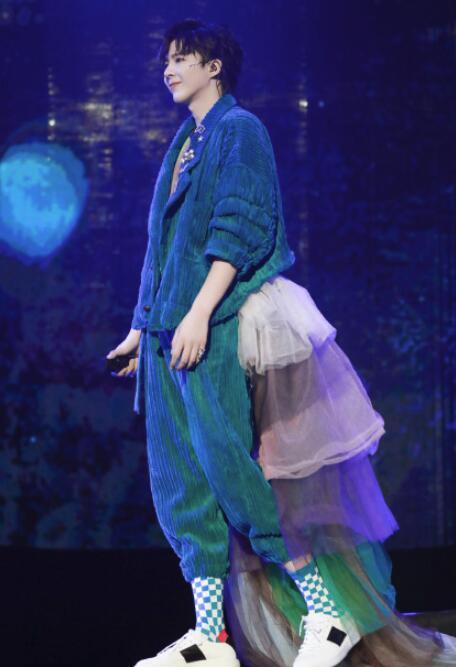 刘宇宁彩虹婚纱裤现身巡演这些明星演唱会时装不能再酷炫
