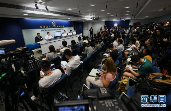 9月2日、香港警察が開催した定例記者会見(撮影・毛思倩)。