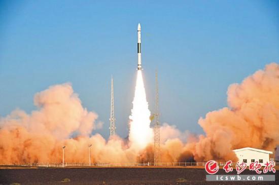 搭载潇湘一号07星的酒泉卫星发射中心快舟一号甲型运载火箭发射现场