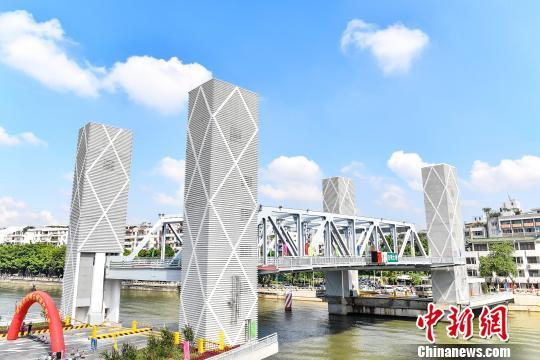 广州首座直升式开启桥通车