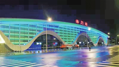 南通海门火车站夜景亮灯 融入江海文化特色