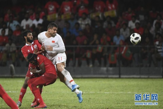 (体育)(19)足球――世界杯预选赛:中国对阵马尔代夫
