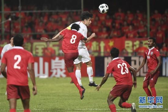 (体育)(13)足球――世界杯预选赛:中国胜马尔代夫