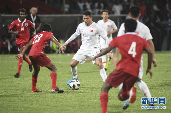 (体育)(32)足球――世界杯预选赛:中国对阵马尔代夫