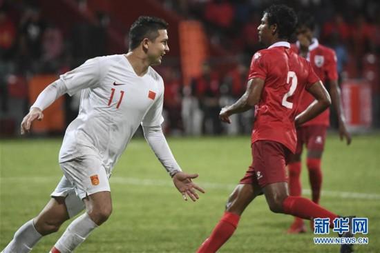 (体育)(1)足球――世界杯预选赛:中国胜马尔代夫