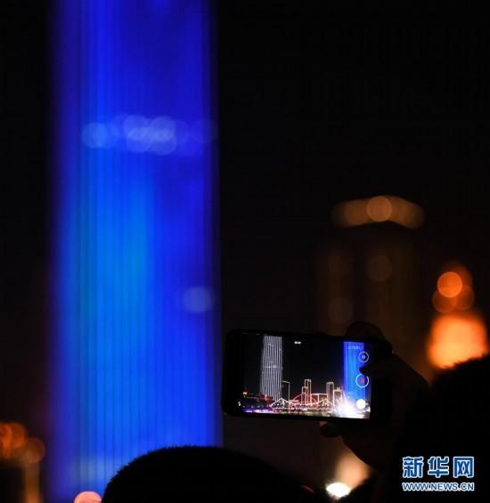 (社会)(1)天津:灯光秀庆佳节