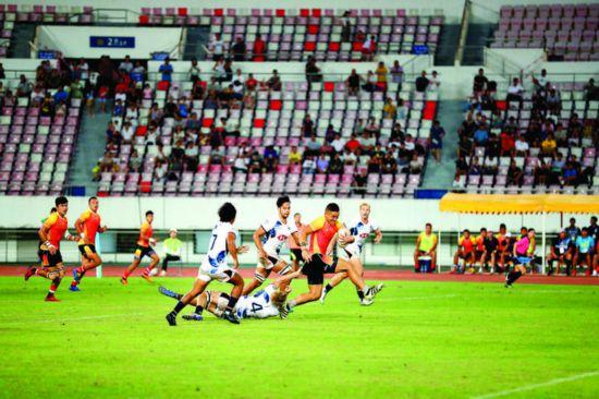 亚洲七人制橄榄球系列赛(中国站)决赛现场。    惠州日报记者张艺明 摄