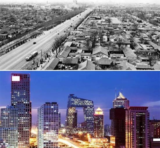 50年代的北京和现在的北京。图片来自网络