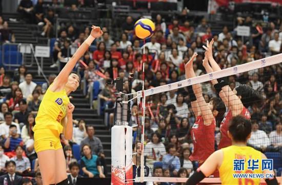 (体育)(9)排球――女排世界杯:中国队胜日本队